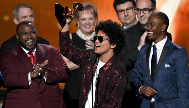 Bruno Mars winning a Grammy