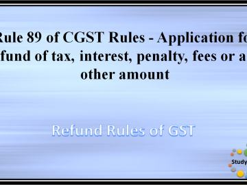Rule 89 of CGST Rules - Application for refund of tax, interest, penalty, fees or any other amount