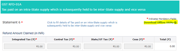 GST RFD-01A Refund on account of CGST and SGST