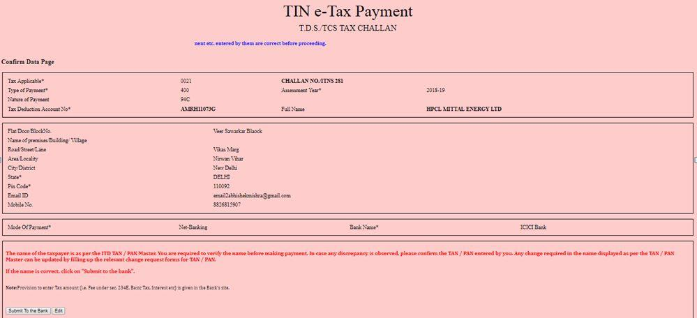 Brief steps for Online TDS/TCS/Demand Payment
