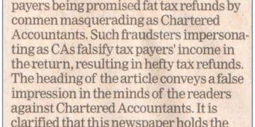 """ICAI - Clarification in ET regarding News Report related to """"CAs help you get Fat Tax Refunds"""" - The Economic Times - New Delhi - (13-July-2019)"""