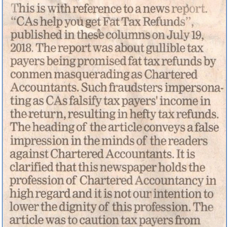 """ICAI – Clarification in ET regarding News Report related to """"CAs help you get Fat Tax Refunds"""""""