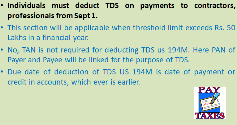 Individuals must deduct TDS on payments to contractors