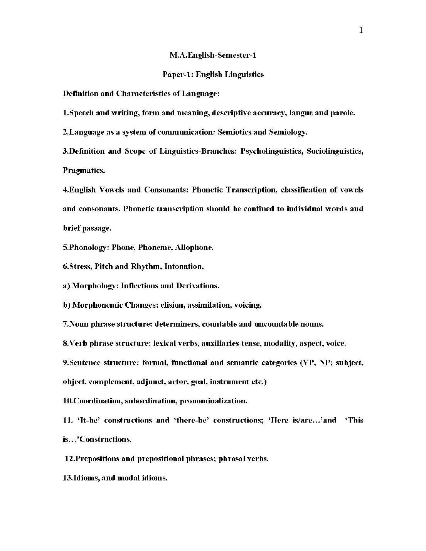 Andhra University Ma English Syllabus