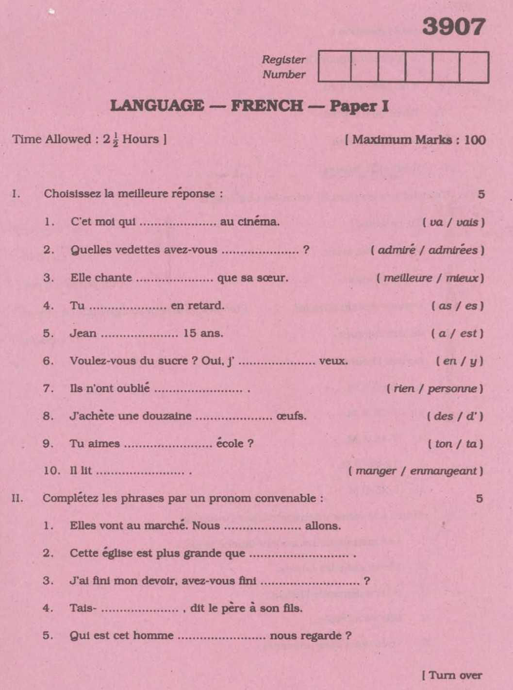 Cbse Class X French Blue Print Of Question Paper