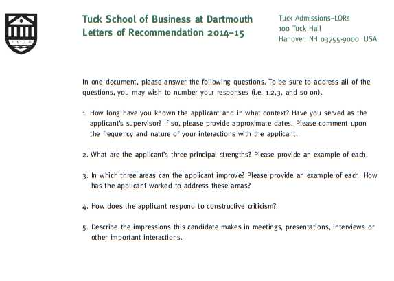 Tuck MBA Recommendation Questions