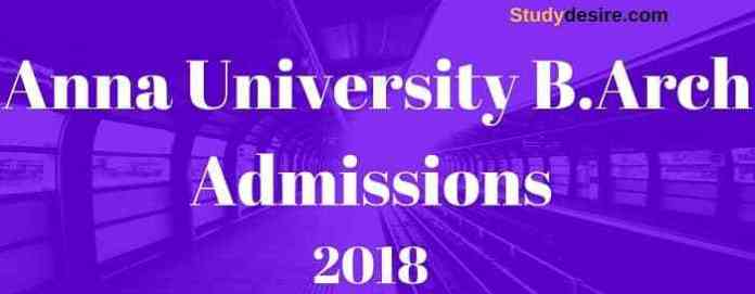Anna University B.Arch Admissions 2018