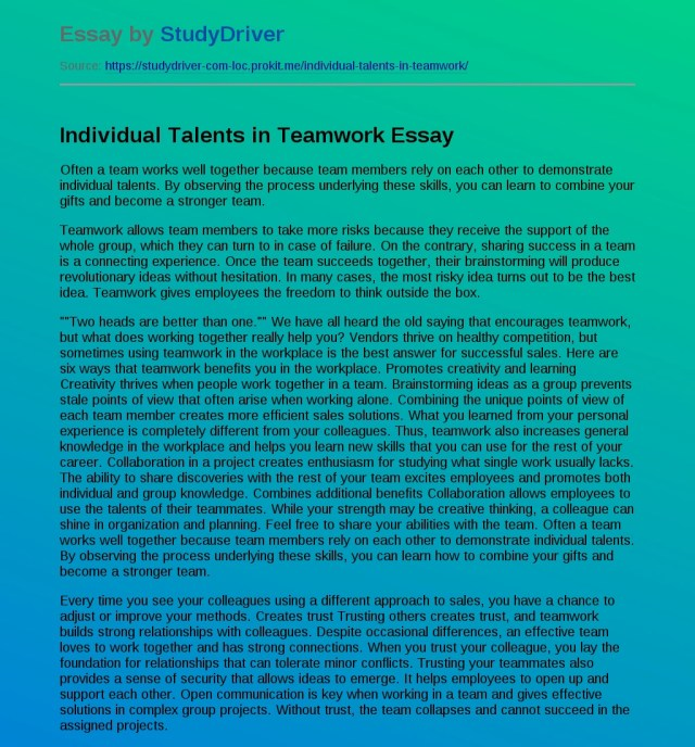 Individual Talents in Teamwork - Free Essay Example  StudyDriver.com
