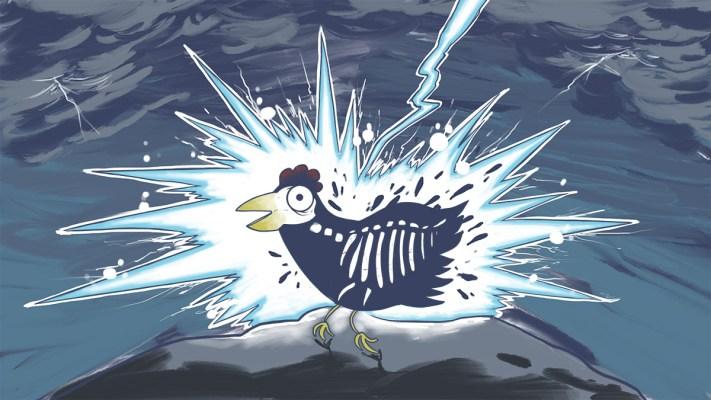 Xob tua qaib tuag. Lighting strikes the chicken dead.