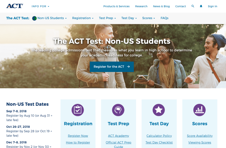 ACT Registration. Create an account through the ACT website.