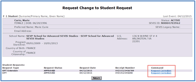 Screenshot of Request Change to Student Request page with Request Correction link in the Command Column circled.