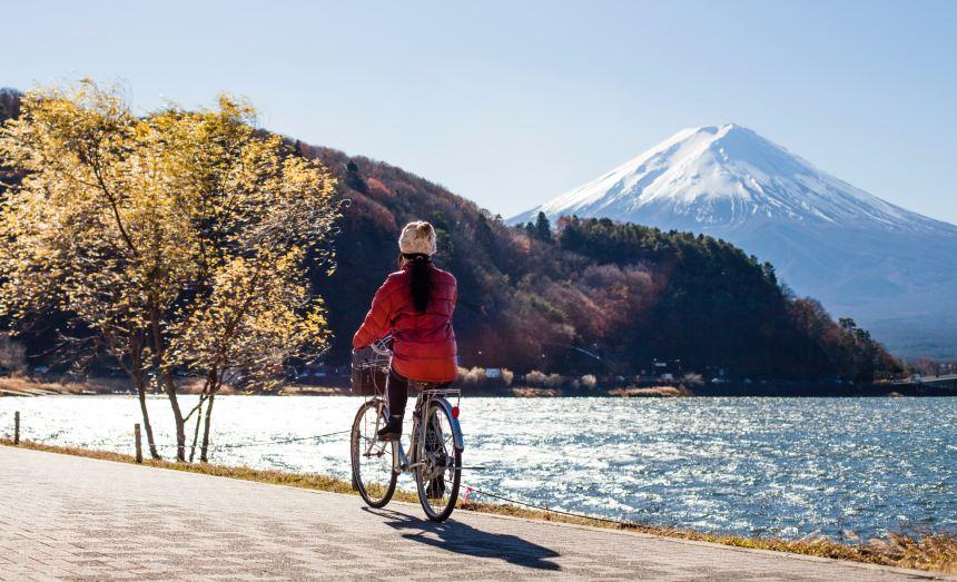 woman cycling at Mt. Fuji