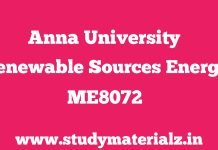 ME8072 Renewable Sources of Energy