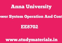 EE8702 Power System Operation and Control