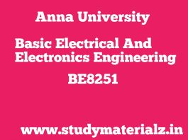 BE8251 Basic Electrical and Electronics Engineering