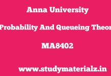 MA8402 Probability and Queueing Theory