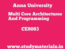 CS8083 Multi-core Architectures and Programming