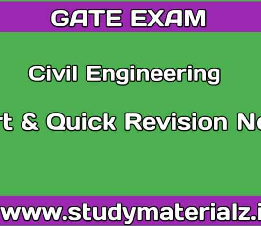 Civil Engineering Short and Quick Revision