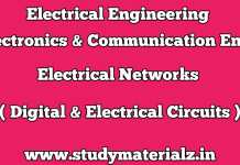 Electrical Networks (Digital & Electrical Circuits) Books