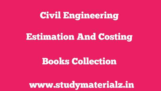 Estimation and Costing Standard Book