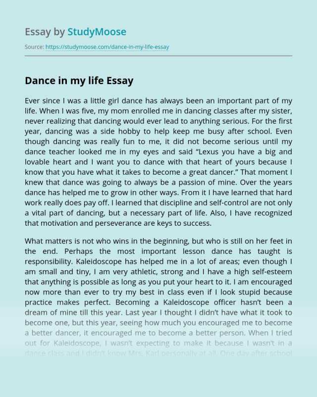 Dance in my life Free Essay Example