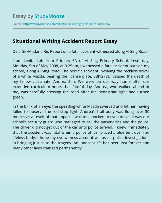 Situational Writing Accident Report Free Essay Example