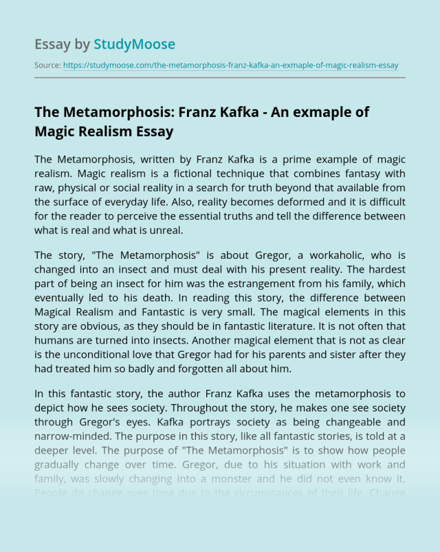 The Metamorphosis: Franz Kafka - An exmaple of Magic Realism Free