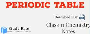 Classification of Elements and Periodic Table Notes Class 11 Chemistry Notes – Download PDF