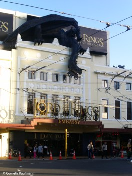 Nazgul on the roof of the Embassy Theatre in Wellington before the Lord of the Rings: The Return of the King world premiere. Copyright Cornelia Kaufmann
