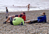 Cyclists swimming in the cold!