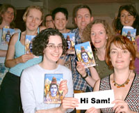 Hi Sam from all of us in book group holding up our copies of Holy Cow!