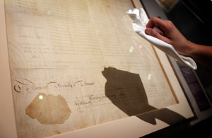 The Delaware copy of the US Bill of Rights on loan from the US National Archives in Magna Carta Law Liberty Legacy. Photography © Clare Kendall