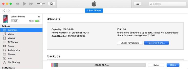 summary option in iTunes settings