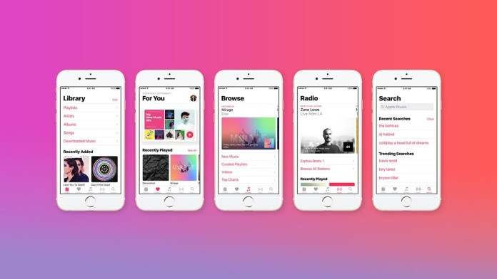 Apple music screenshots of layouts