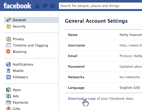 procedure to download your data from Facebook