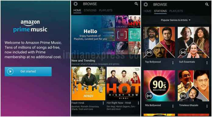amazon-prime-music screenshots on mobile devices