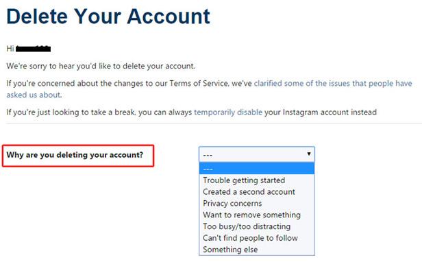 procedure to delete your Instagram account permanently