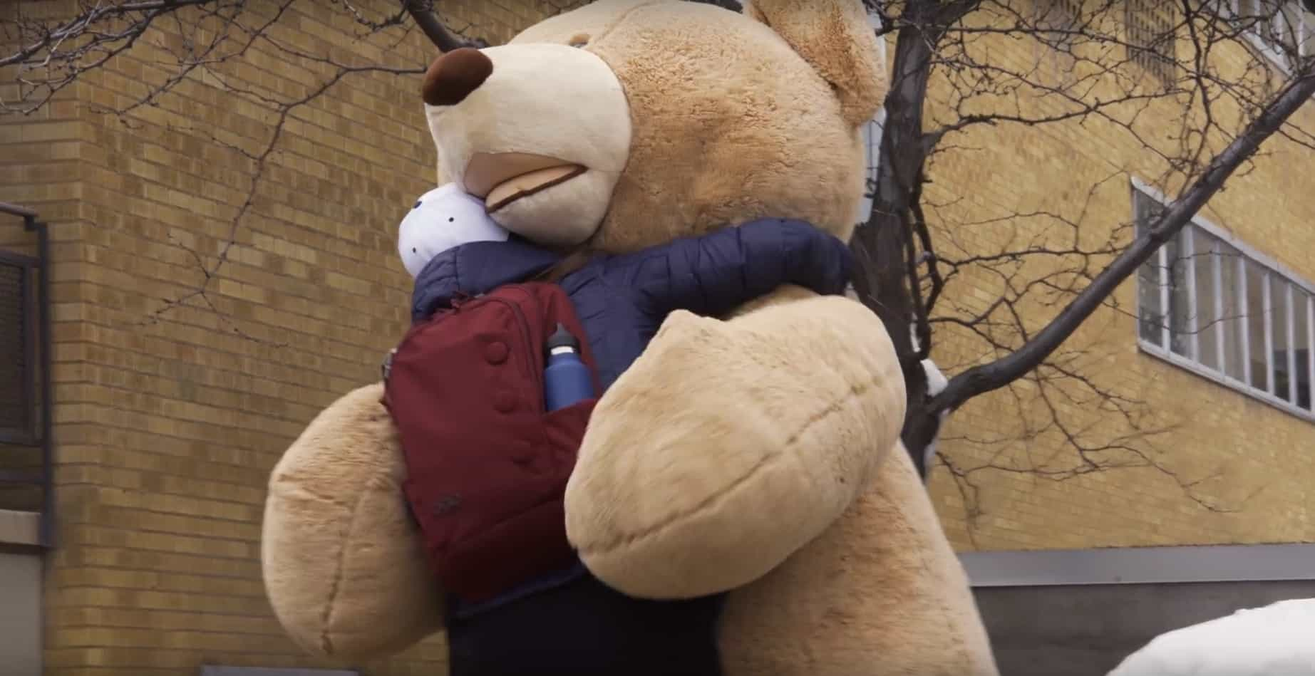 A Giant Teddy Bear Celebrates Valentines Day By Giving