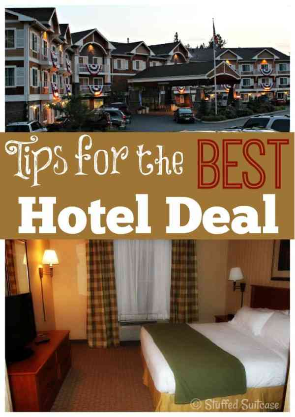 Tips for getting the best deal on your hotel room - get the best price so you can use your vacation budget on other stuff! StuffedSuitcase.com travel tip