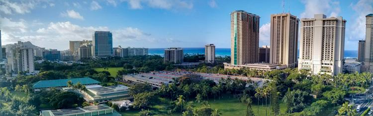 Amazing patio room view of Waikiki Beach Oahu from the DoubleTree Hilton Alana Waikiki Beach Hotel