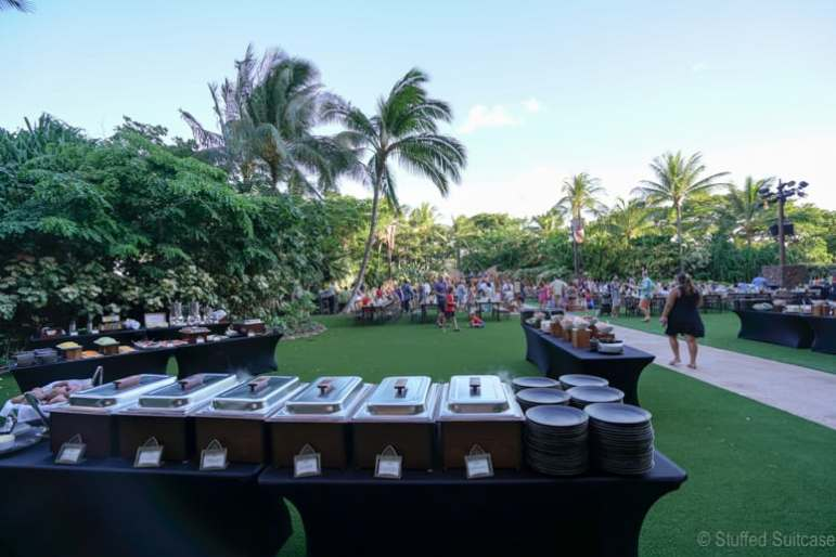 Buffet style dining for the KA WA'A Aulani luau