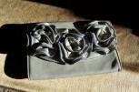clutch purse, gray, 3D roses