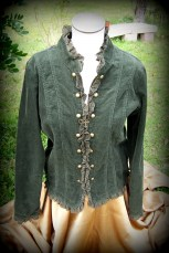 button up shirt, green cordouroy, long sleeved, applied cross on back