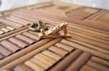 wood plane tack pin, goldtone