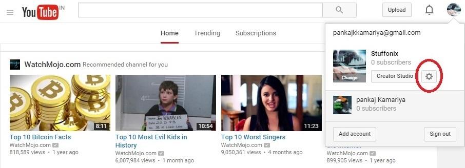 youtube setting