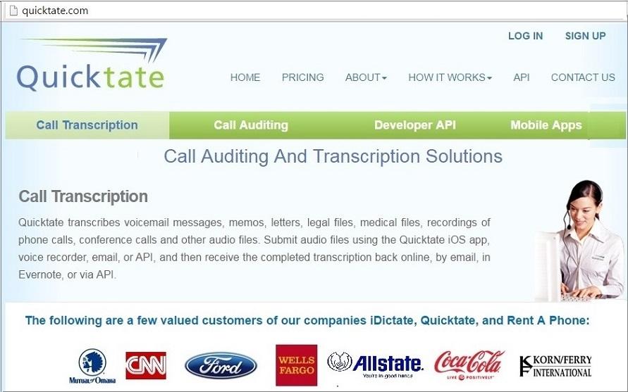 quicktate transcription job online