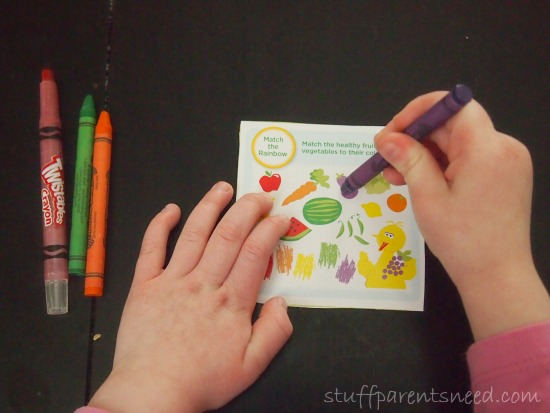 fruit and vegetable matching game found on the back of an Earth's Best product