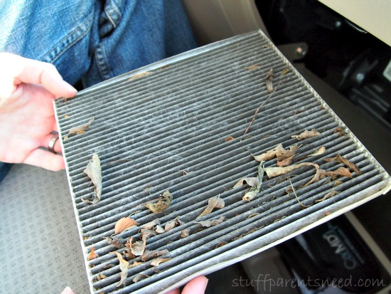 replacing an air filter: old dirty air filter