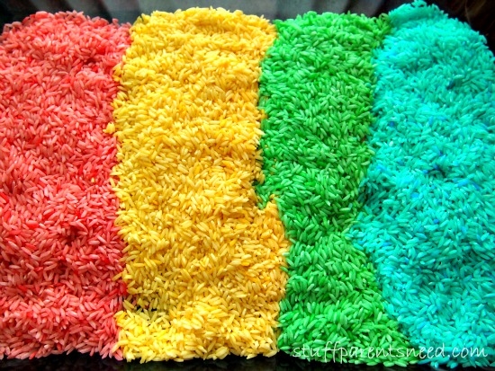 4 colors of colored rice or rainbow rice