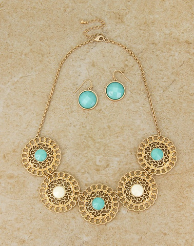aqua statement jewelry: inexpensive set